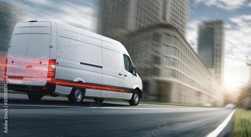Fotomural  Lieferwagen liefert schnell in einer Stadt