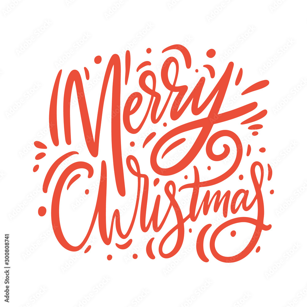 Fototapeta Merry christmas red sign. Hand drawn vector lettering.