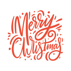 Merry christmas red sign. Hand drawn vector lettering.