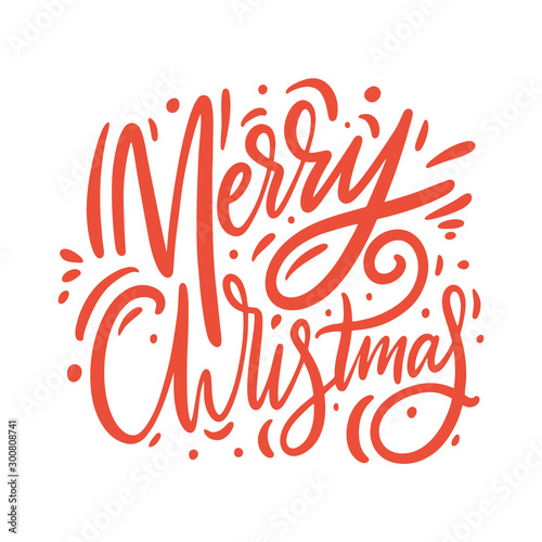 Merry christmas red sign. Hand drawn vector lettering. Fotobehang