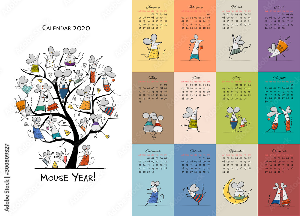 Fototapety, obrazy: Funny mouses party, symbol of 2020 year. Calendar design