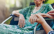 canvas print picture - Elderly asian woman on wheelchair at home with daughter take care