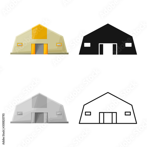 Obraz Vector illustration of hangar and storehouse sign. Web element of hangar and garage stock symbol for web. - fototapety do salonu