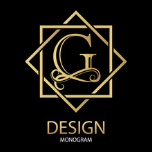 Vector Golden Letter G Monogram On Black Background.