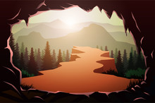 Cave Entrance In Natural Pine Forest Mountains Horizon Landscape Wallpaper Sunrise And Sunset Illustration Vector Style Sunlight Colorful View Background