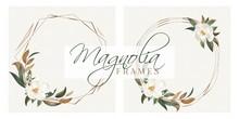 Magnolia Leaves Modern Floral Wreath Frames For Wedding Invitation Cards