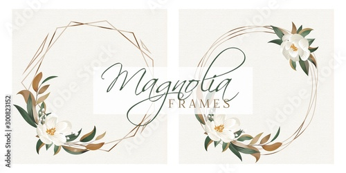 Photo Magnolia Leaves Modern Floral Wreath Frames for Wedding Invitation Cards