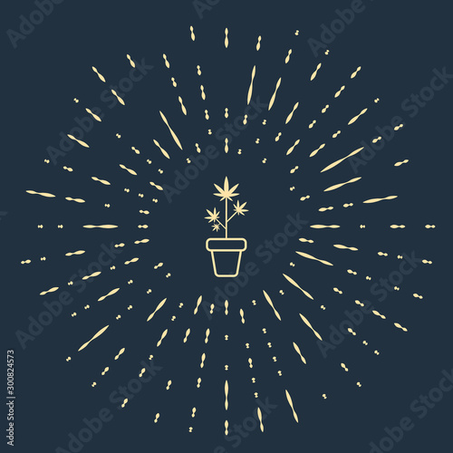Beige Medical marijuana or cannabis plant in pot icon isolated on dark blue background. Marijuana growing concept. Hemp potted plant. Abstract circle random dots. Vector Illustration Wall mural