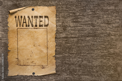 Valokuva  Wanted wild west poster on wood wall