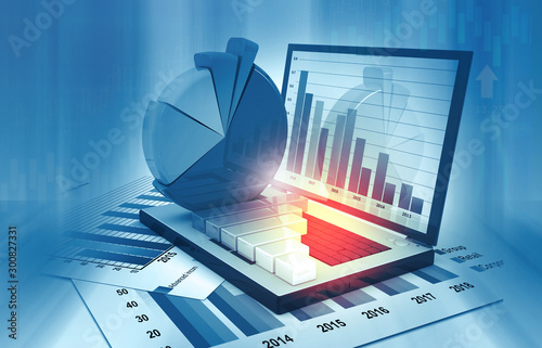 Pinturas sobre lienzo  Business graphs and financial reports. 3d illustration .