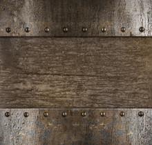 Medieval Metal Frame With Rivets Over Wood Background 3d Illustration