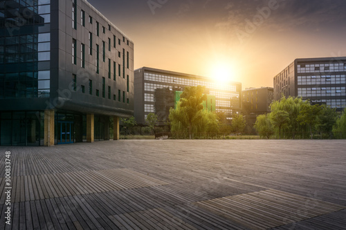 Modern office building in the evening Canvas Print