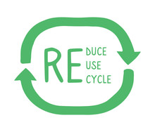 Reduce, Reuse, Recycle Illustration With Green Arrows