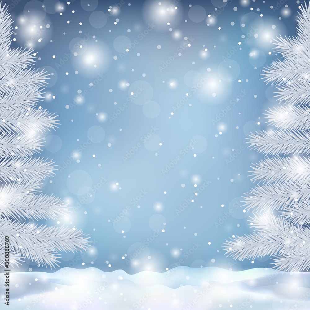 Fototapety, obrazy: Winter landscape with fir trees and snowflakes illustration