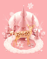 Christmas 3D illustration with golden Reindeer and festive Christmas trees. Abstract composition isolated on pink background. 3d rendering.