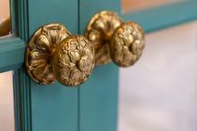 Classic Retro Brass Door Knob On Green Door Vintage Decoration Retro Interior Style