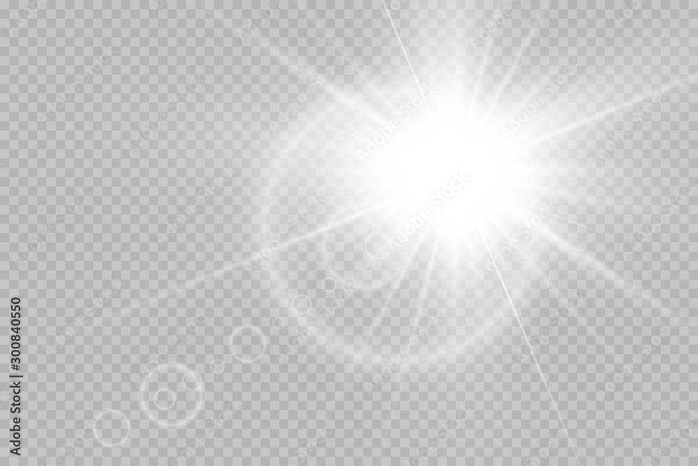Fototapeta Vector transparent sunlight special lens flare light effect. Sun flash with rays and spotlight.Vector transparent sunlight special lens flare light effect.