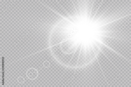 fototapeta na ścianę Vector transparent sunlight special lens flare light effect. Sun flash with rays and spotlight.Vector transparent sunlight special lens flare light effect.