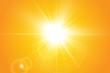 Warm sun on a yellow background. Leto.bliki solar rays