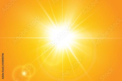 Fotografía  Warm sun on a yellow background. Leto.bliki solar rays