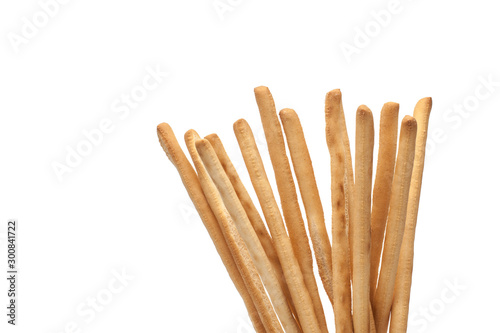 Tuinposter Brood Grissini sticks on a white background