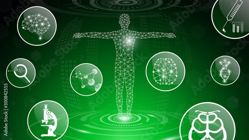 abstract background technology concept in green light,human body heal,technology Wallpaper Mural