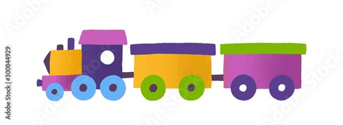 Tablou Canvas Childish toy train with wagons vector illustration