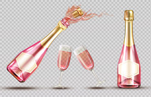 Pink Champagne Explosion Bottle And Wineglass Set. Closed And Open Bubbly Flasks With Glasses, Sparkling Wine Drink Mockup Isolated On Transparent Background. Realistic 3d Vector Illustration, Clipart
