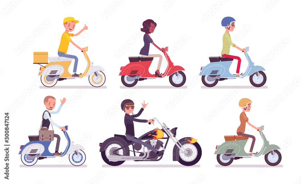 Fototapety, obrazy: Biker and scooter drivers. Male, female happy persons riding different light motor vehicle, small motorcycles for sport, fun, work, business, recreation in city. Vector flat style cartoon illustration