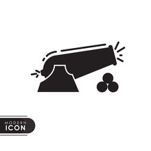 Fire Canon Black Solid Icon With Modern Design. Flat Style For Graphic Design Template. Suitable For Logo, Web, UI, Mobile App. Vector Illustration