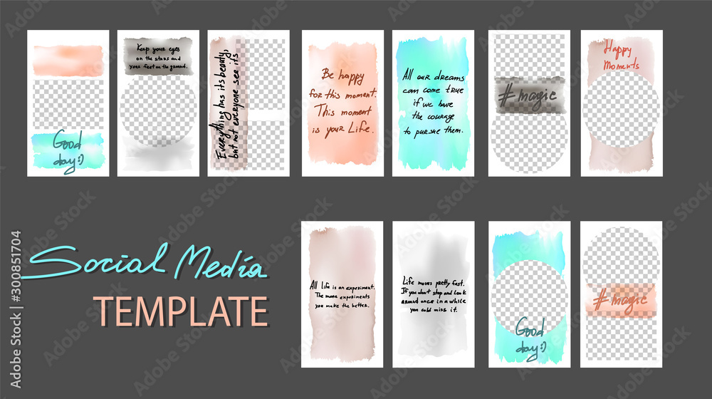 Fototapety, obrazy: Set of stories for sale. Banner background, template photo. Can use for website, mobile app, poster, flyer, coupon, gift card, smartphone template, web design