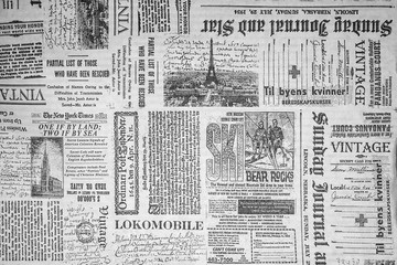 Fototapeta Do pokoju chłopca KHARKIV, UKRAINE - September 21st, 2019: Monochrome background, old newspaper style