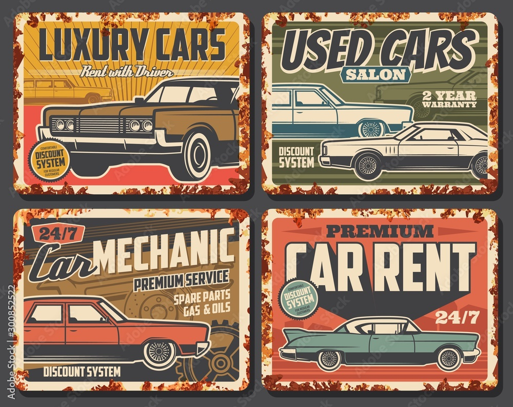 Fototapety, obrazy: Rent and repair service of used cars, old vehicles