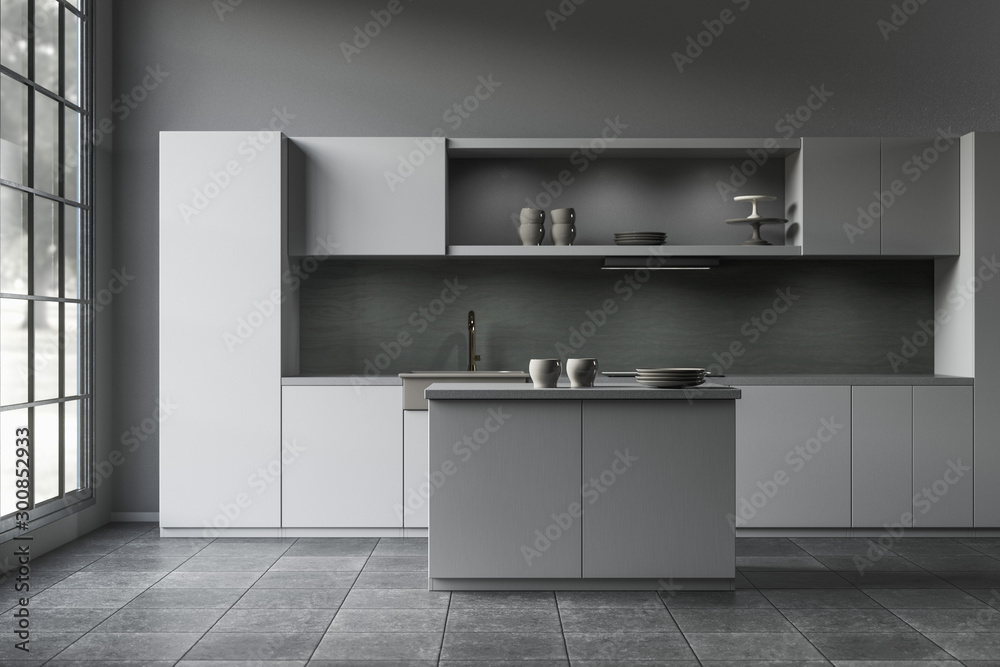 Fototapeta 3D rendering of a dark and moody modern build-in open plan kitchen with kitchen island