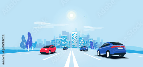 Foto auf AluDibond Licht blau Traffic on the highway panoramic perspective horizon vanishing point view. Flat vector cartoon style illustration urban landscape motorway with cars, skyline city buildings and road going to the city.
