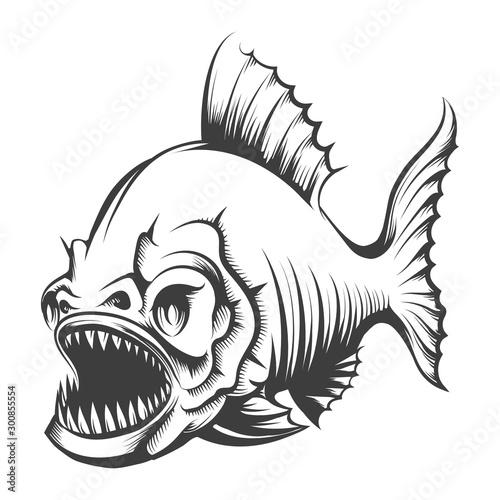 Piranha Fish Engraving Illustration Canvas-taulu