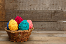 Colorful Decorated Easter Eggs From Wool Yarn. Happy Easter.