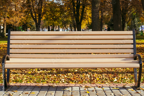 Empty bench in the park in autumn on a sunny day Wallpaper Mural