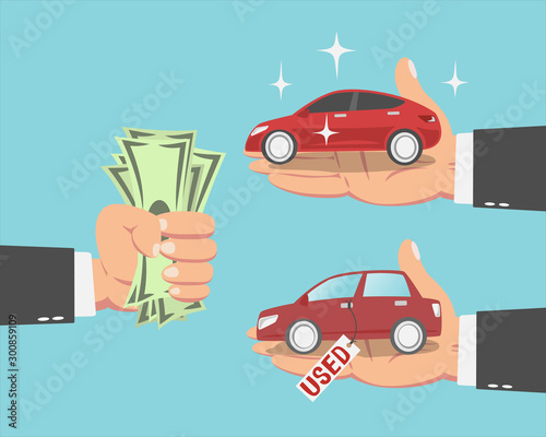 Fotobehang Cartoon cars Businessman buying a new car and a Used car