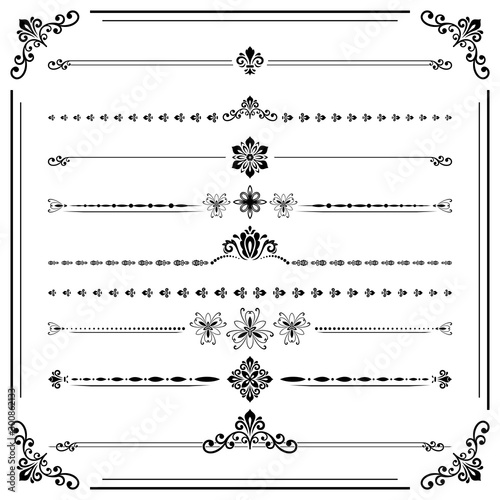 Poster Retro Vintage set of decorative elements. Horizontal separators in the frame. Collection of black different ornaments. Classic patterns. Set of vintage patterns