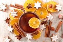 Winter Tea With Orange, Cinnamon And Gingerbread Cookies