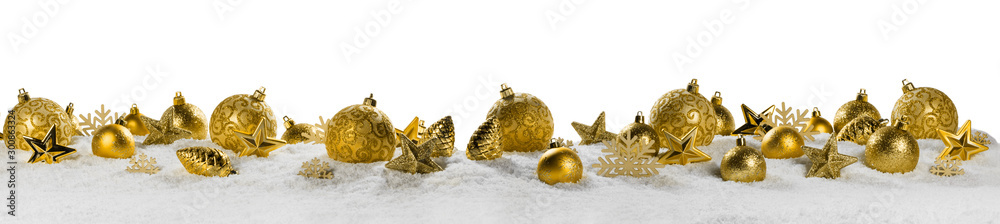 Fototapety, obrazy: Christmas border with golden ornaments
