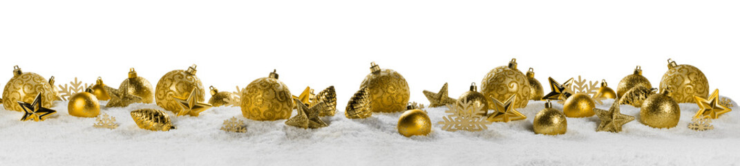 Christmas border with golden ornaments