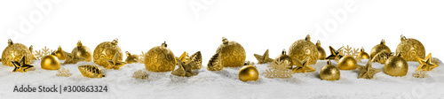 Christmas border with golden ornaments - 300863324
