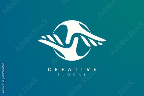 Fotografía Vector design of a combination of circle letters with two hands reaching togethe