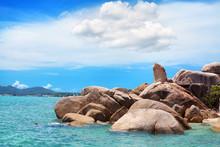 Hin Ta And Hin Yai Rocks Close Up View, Grandmother And Grandfather Stones, Blue Sea, Sunny Sky, Clouds Background, Famous Tourist Natural Landmark On Lamai Beach, Koh Samui Tropical Island, Thailand