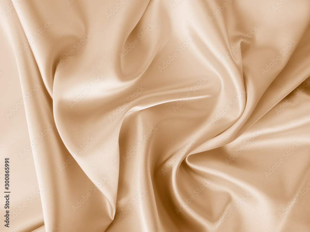 Fototapety, obrazy: Beautiful smooth elegant wavy beige / light brown satin silk luxury cloth fabric texture, abstract background design. Copy space.