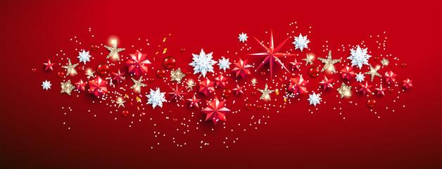 Obraz na płótnie Canvas Red flat lay Banner with stars