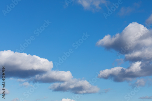 Obraz White, fluffy cloud float along the skyline over blue sky on a clear day. Background from clouds. - fototapety do salonu