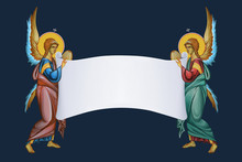 Two Archangels With Roll Of Pa...